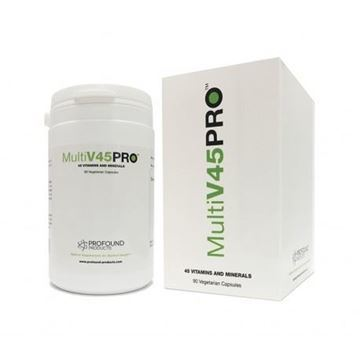 MultiV45PRO Is a blend of an incredible 45 vitamins and minerals in one simple supplement. It contains may nutrients including the vitamins C, E, B2, B3, B5, B6, B1, folic acid, manganese, potassium and iron.