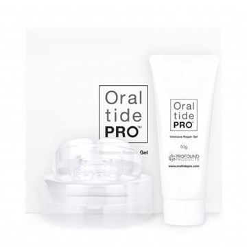 Oraltide Pro Repair Gel: utilises peptides that can transport and deposit calcium ion into the damaged enamel microstructure to remineralise, fill the slot, reduce bacterial growth and prevent etching.